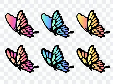 粉色和淺藍色,黃色燕尾蝶02(帶線)