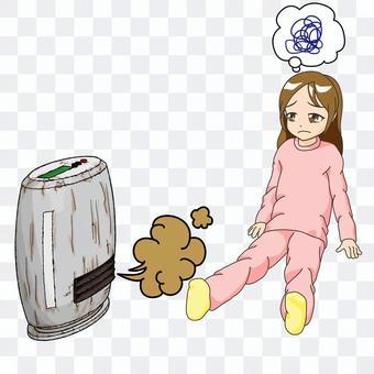 Broken fan heater and girl, no background