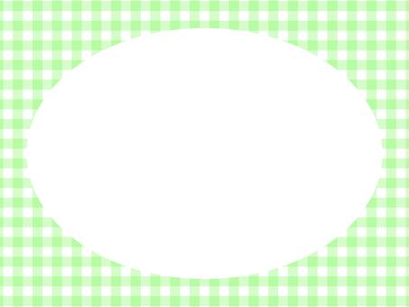 깅엄 체크 타원형 프레임 : 연두색