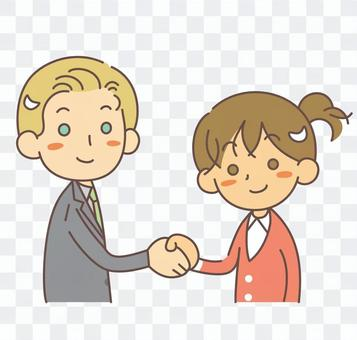 Handshake Foreign men and Japanese women