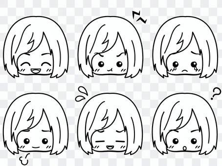 女孩[面部表情集合](黑色和白色)