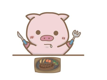 Pig eating steak