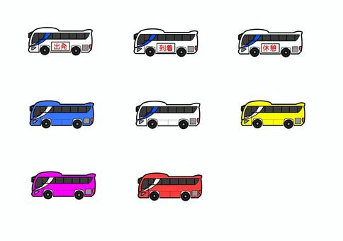 Tourist bus icon set