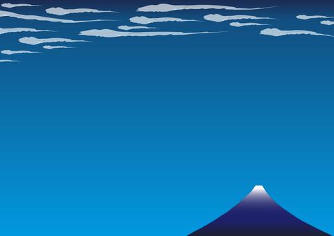 4幅(浮世繪風格,富士,飄動的雲朵)