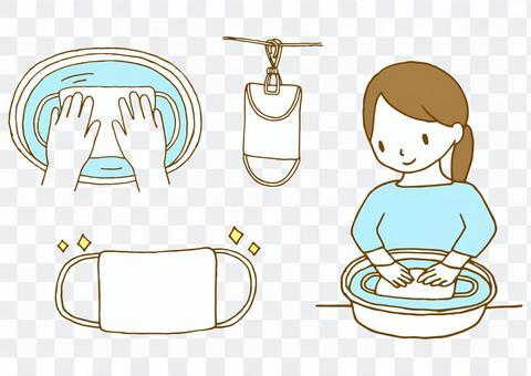 マスクを洗う人のイラスト