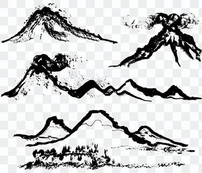 山爆發brushlet例證