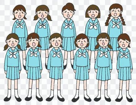 合唱部分女子水手製服淡藍色