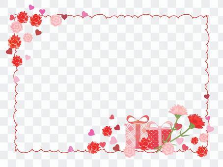 康乃馨和禮物框架