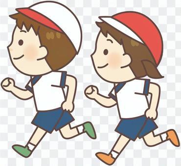健身服套裝 - 跑男孩·女孩(紅白帽)