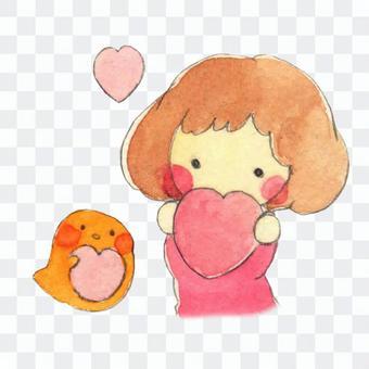 【手繪】小雞和女孩