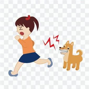 一個害怕吠叫的狗而逃跑的女孩