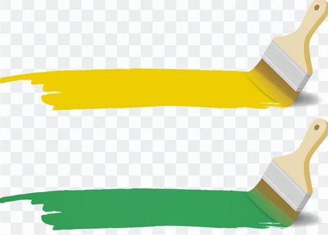 油漆和油漆刷(黃色和綠色)