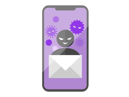 到達您的智能手機的危險電子郵件的圖像