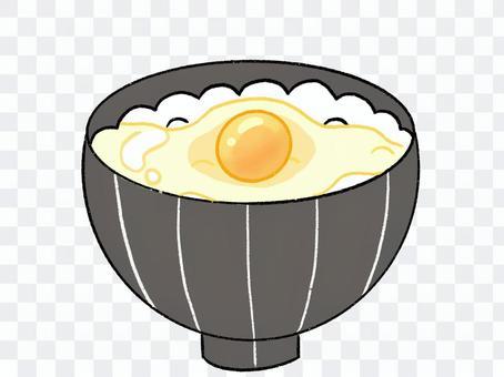 手寫風格雞蛋切飯