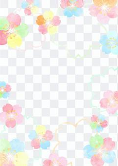 水彩風格多彩櫻花背景
