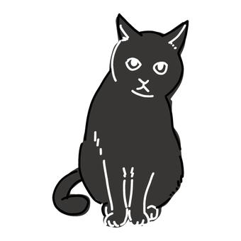 坐著的黑貓的簡單的全身插圖