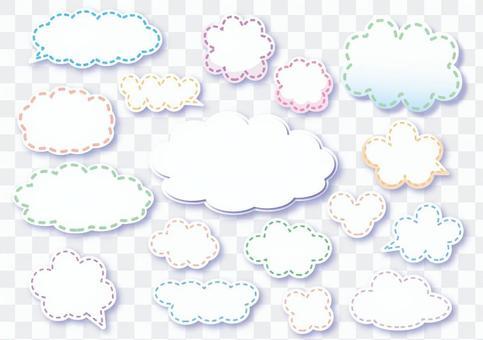 可愛的雲形氣球鑲有縫線