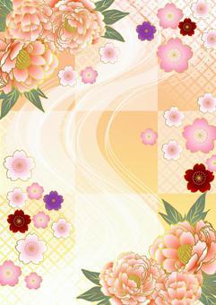 牡丹,日本花和垂直的方格的背景