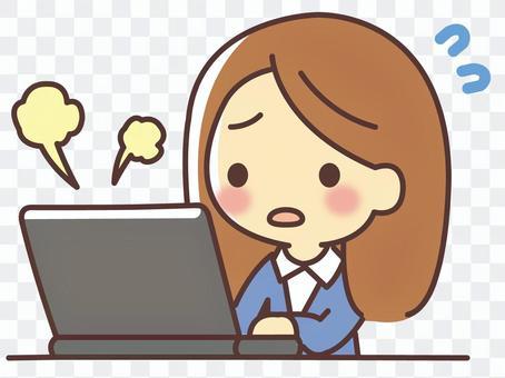 個人電腦故障的女人(030)