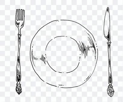 餐具和盤子的單色插圖