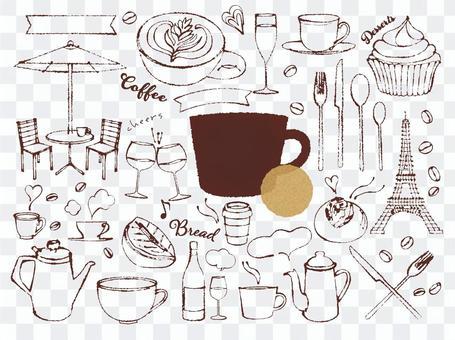 手繪咖啡館插圖素材