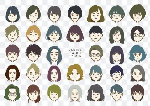 Ladies Face Icon-Color