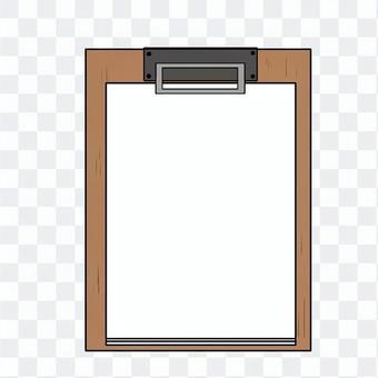 紙が挟んである木のクリップファイル
