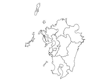 九州地區空白地圖