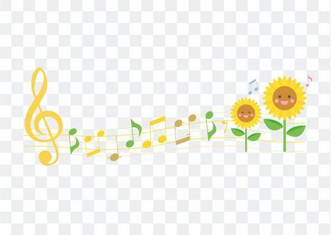 唱歌向日葵和音符線型