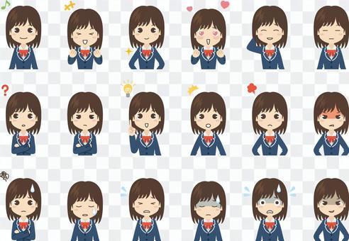 B242_高校生女子表情セット