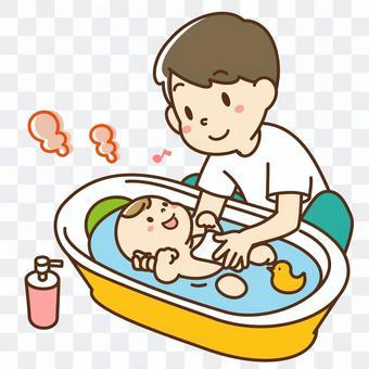 爸爸在洗澡中帶孩子