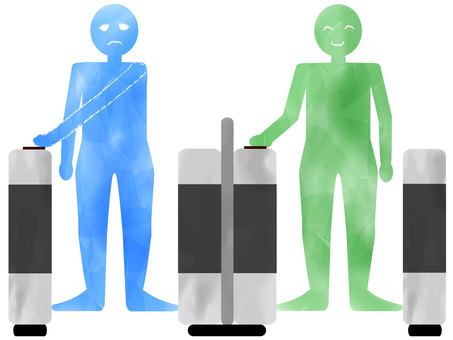Right-handed automatic ticket gates are inconvenient for left-handed people! Blue green