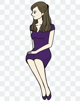 Sitting woman · profile · purple