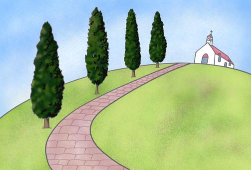 可以看到線雪松和教堂的風景
