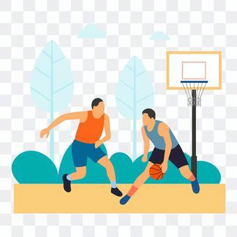 一個人在戶外打籃球