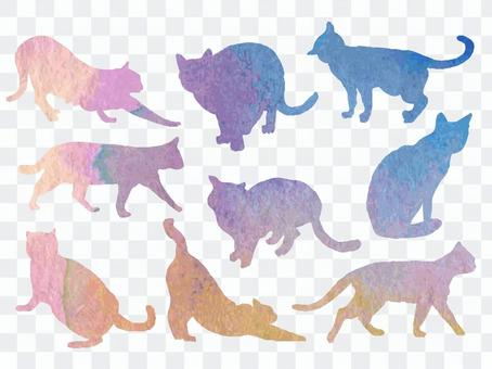 Watercolor style _ cat set