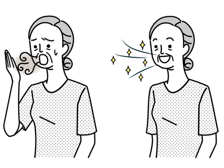 Elderly people suffering from bad breath and elderly people with refreshing breath