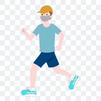 マスクをしてジョギングする男性-1