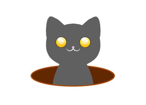 一隻灰貓從洞裡出來的可愛插圖