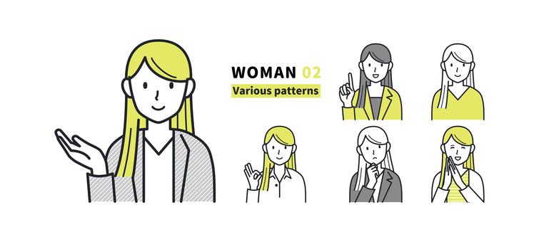 具有各種面部表情和姿勢的女性 02