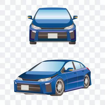 車正面と側面セット コンパクトセダン