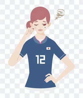 足球支持者憂鬱的女士