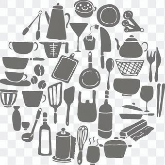 廚房設備剪影灰色設置圓形