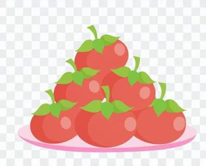 柿子堆積在盤子上