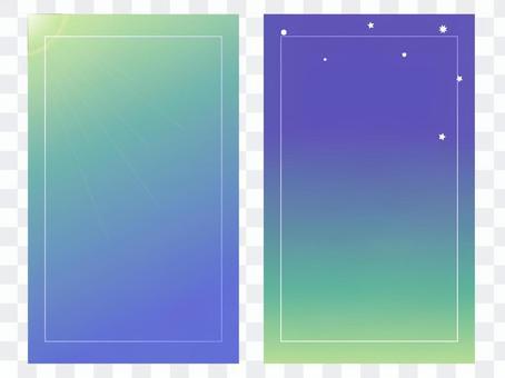 正面和背面配對的卡片(早晨和夜綠色框)