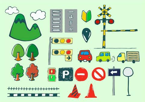 可用於道路,交通,地圖的筆跡