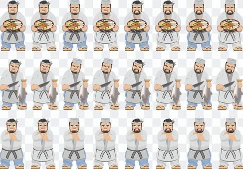 板前(壽司廚師)的插圖集