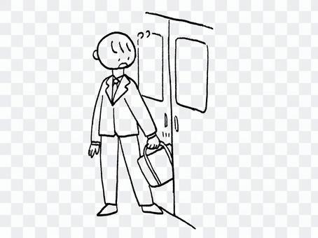 電車のドアにかばんを挟まれるサラリーマン