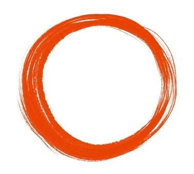 用畫筆繪製的圓形/紅色