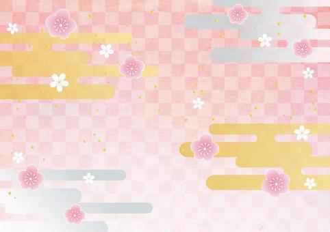 New Year _ plum _ lattice_ Japanese paper background